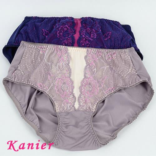【Kanier卡妮兒】深V曲線無鋼圈內衣配褲(藍/芋頭紫_L.XL_2855)