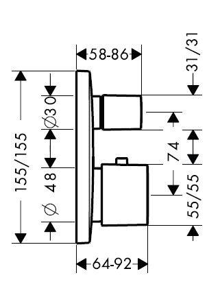 【麗室衛浴】 德國頂級HANSGROHE PuraVida 定溫開關外殼+二路水流轉換器  15771