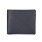 BURBERRY 防水皮革斜格紋8卡對折男用短夾(海軍藍/黑色)