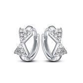 耳環 925純銀鑲鑽銀飾-可愛蝴蝶結生日情人節禮物女飾品73dy41【時尚巴黎】