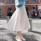 2021新款半身裙女夏白色A字裙高腰春秋季裙子中長款蛋糕長裙垂感 果果輕時尚