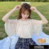 娃娃領雪紡衫女夏季2020新款喇叭袖學院風超仙甜美洋氣襯衣上【全館免運】