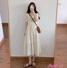 素色洋裝杏色連身裙夏2021新款方領超仙...
