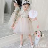女童連身裙 2019新款時尚氣質文藝原宿風網紗裙女童  YN514『寶貝兒童裝』