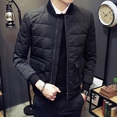 夾克外套-棒球領純色時尚經典休閒夾棉男外套73qa38[時尚巴黎]