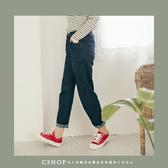 褲子  3D剪裁拼接顯瘦寬抽繩牛仔褲S-M   單色-小C館日系