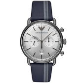 【台南 時代鐘錶 Emporio Armani】亞曼尼 AR11202 雅痞風格 皮革錶帶 日期 計時男錶 銀/鐵灰 43mm