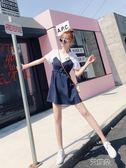 韓版 夏季 重工貓頭刺繡條紋收腰假兩件遮肉顯瘦連身裙   萌萌小寵