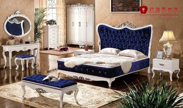 [紅蘋果傢俱] HT-813 新古典 實木雕花 歐式床 五尺/六尺 雙人 床架 床台 工廠直營