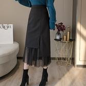 2021秋冬新款不規則時尚中長款半身裙女設計感拼接網紗百褶包臀裙 童趣屋