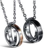 鈦鋼項鍊(一對)-圓型鑲鑽生日情人節禮物情侶對鍊2色73cl16【時尚巴黎】
