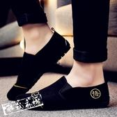 休閒鞋豆豆鞋 豆豆鞋男夏季一腳蹬懶人休閒鞋透氣帆布鞋百搭小皮鞋小伙鞋男 酷我衣櫥