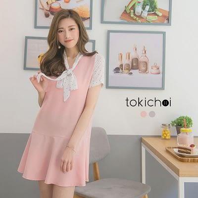 東京著衣-領口綁結點點拼接洋裝-XS.S.M(6013221)