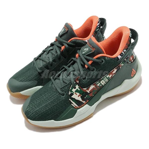 Nike 籃球鞋 Zoom Freak 2 PS Bamo 綠 橘 童鞋 中童鞋 迷彩 字母哥 二代 運動鞋 【ACS】 DD0011-300