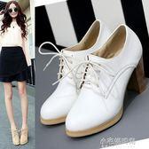 歐美高跟皮鞋子春秋透氣圓頭粗跟系帶單鞋女小白工作鞋大碼鞋『小宅妮時尚』