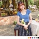 《AB15077-》高含棉多彩純色實搭低領短袖T恤 OB嚴選