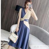 洋裝 夏裝新款2019韓版俏皮時尚百搭無袖拼色連身裙氣質收腰顯瘦時髦潮  韓慕精品