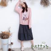 betty's貝蒂思 條紋交錯腰間鬆緊長裙(深灰)