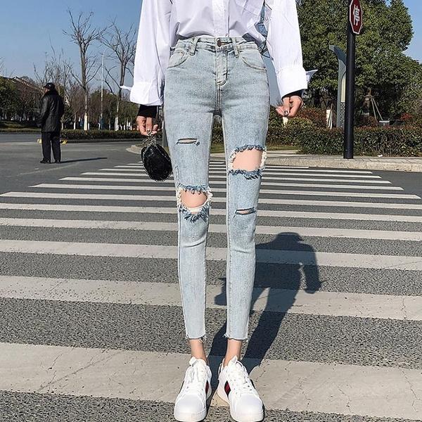 窄管褲 九分牛仔褲瘦腿女士破洞褲彈力緊身八分小腳褲薄款百搭夏-Ballet朵朵