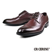【CR CERINI】時尚真皮雕花翼紋德比紳士鞋  酒紅(83489-WIN)