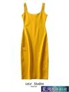 無袖洋裝 10色歐美春夏新款純色背心開叉打底中長款無袖顯瘦氣質吊帶連身裙 星河光年