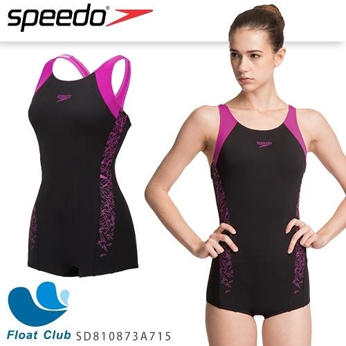 【SPEEDO】女人運動連身平口泳裝 Boom Splice ELL (黑/紫) SD810873A715