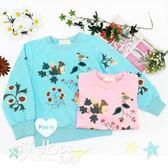 清新花草動物長袖上衣 衛衣 植物 松鼠 清新 韓版 女童 童裝【 哎北比童裝】