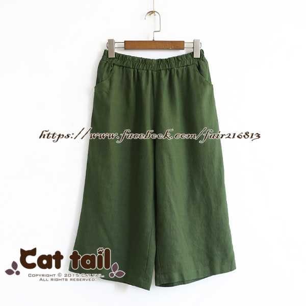 《貓尾巴》LZ-02340 簡約百搭純色寬鬆七分褲(森林系 日系 棉麻 文青 清新)