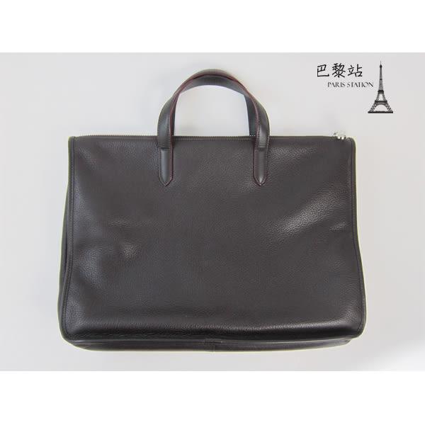 【巴黎站二手名牌專賣店】*現貨*LOEWE 羅意威 真品*深咖啡牛皮公事包筆電包手提包