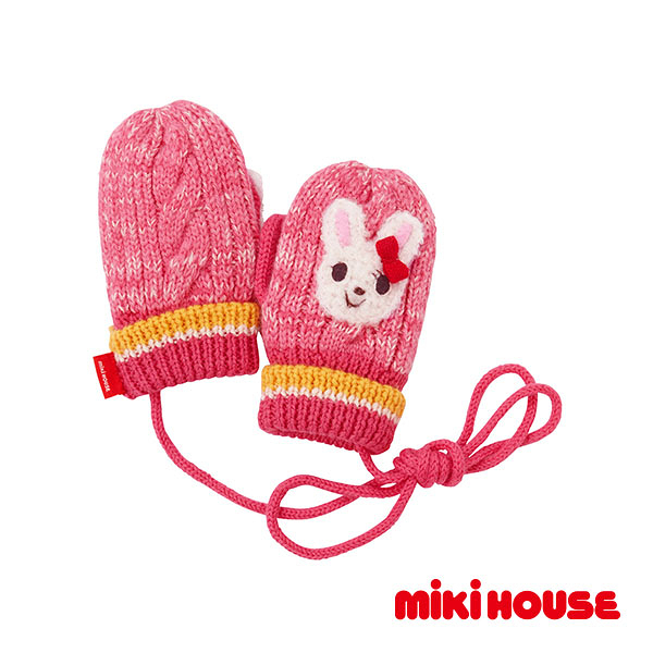 MIKI HOUSE 新款可愛舞颯兔保暖手套(粉)