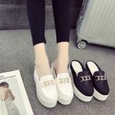 厚底內增高半拖鞋女夏新款包頭無后跟鬆糕拖鞋休閒坡跟外穿懶人鞋 小宅女