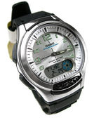 CASIO卡西歐 雙顯示 電子錶 AQ-180W-7B 銀白 40mm 指針錶 日期 AQ-180W-7B 世界時間 防水手錶