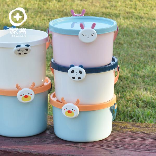 【+O家窩】動物造型卡扣戲水/玩具收納桶附蓋-小-3入-3款動物可選(水桶 海灘 海邊 沙灘 沙坑 戲水)