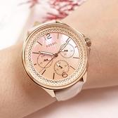 FOSSIL / ES4785 / 三眼三針 珍珠母貝 閃耀晶鑽 星期日期 真皮手錶 粉x玫瑰金框x粉膚色 38mm