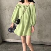 露肩洋裝韓國早秋寬鬆中長款露肩一字領泡泡長袖純色套頭連身裙娃娃短裙女