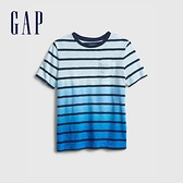Gap男童 漸層條紋貼袋圓領T恤 682084-藍色漸層