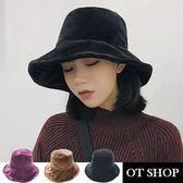 OT SHOP 帽子 絨毛漁夫帽 盆帽 大檐帽 保暖秋冬穿搭配件 時尚氣質 [現貨] C2051