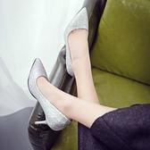 淺色高跟鞋銀色女5-7厘米單鞋亮片時尚性感宴會顯瘦工作鞋單  蒂小屋服飾 618來襲
