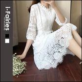 現貨+快速★蕾絲鏤空七分袖洋裝 連身裙★ifairies【66335】