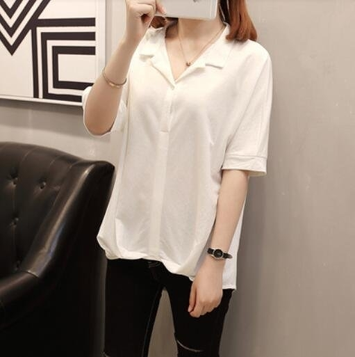 襯衣上衣休閒衫簡約中大尺碼XL-4XL韓版加大碼女裝夏季短袖襯衫外穿2F060-8930.一號公館