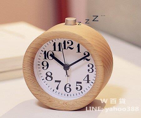 實木鬧鐘 時鐘 有小夜燈 貪睡功能 木製