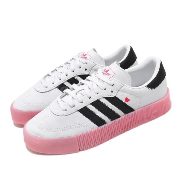 【五折特賣】adidas 休閒鞋 Sambarose W 白 黑 粉紅 情人節 女鞋 厚底 【ACS】 EF4965