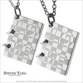 情侶對鍊STEVEN YANG 珠寶白鋼項鍊送刻字情書愛的馬賽克單個