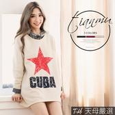 【天母嚴選】 CUBA印字斑駁星星內刷毛長版上衣(共三色)