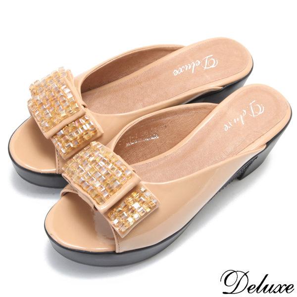 【Deluxe】全真皮時尚可愛寬版蝴蝶結楔型拖鞋(米)