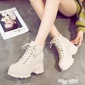 網紅短靴子女秋款2021新款厚底女鞋內增高冬季瘦瘦靴英倫風馬丁靴 喜迎新春