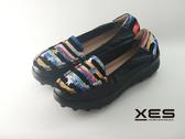 XES 星星横條彩圖懶人鞋 優質時尚 女款 黑配藍