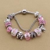串珠手環-粉色系列琉璃飾品時尚甜美女配件73kc449【時尚巴黎】