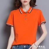 有翻領衫女帶領條紋短袖上衣夏季純棉休閒運動t恤定制印LOGO【果果新品】