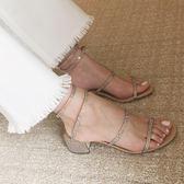 【優選】一字帶涼鞋綁帶鞋女中跟水鑽蛇形纏繞高跟鞋